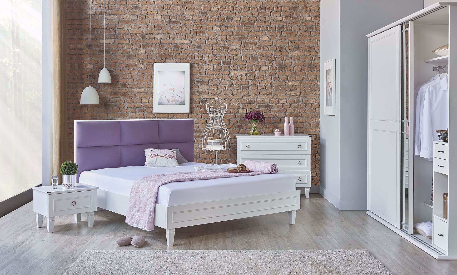 Cara Bedstead (with Base) 180*200cm (Incl. Headboard) (Purple)