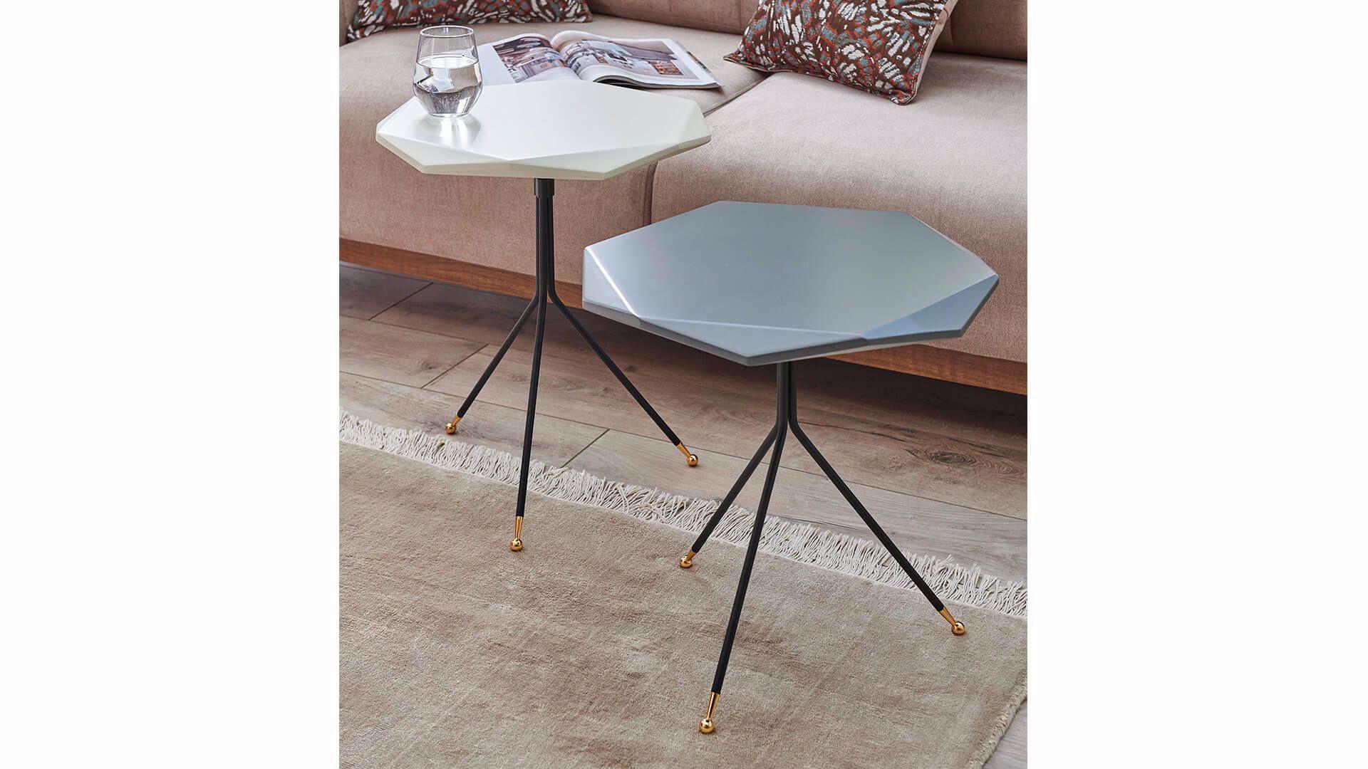 Gable Nesting Table (Set of 2) (Gray/White)