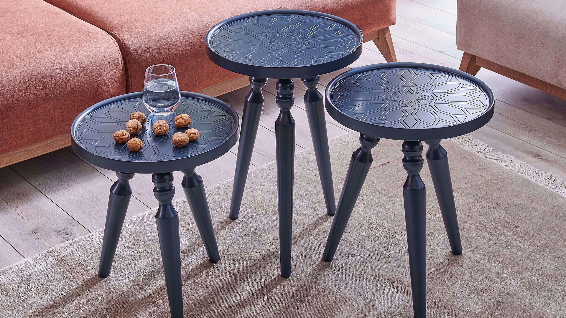 Rado Nesting Table (Set of 3) (Navy Blue)