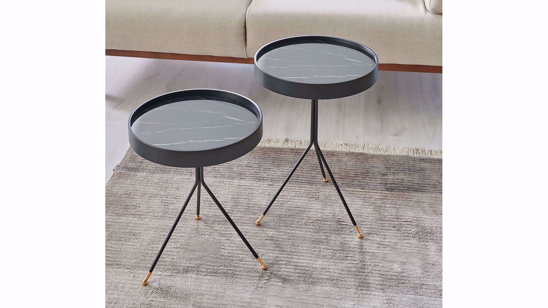 Fiare Nesting Table (Set of 2) (Marble)