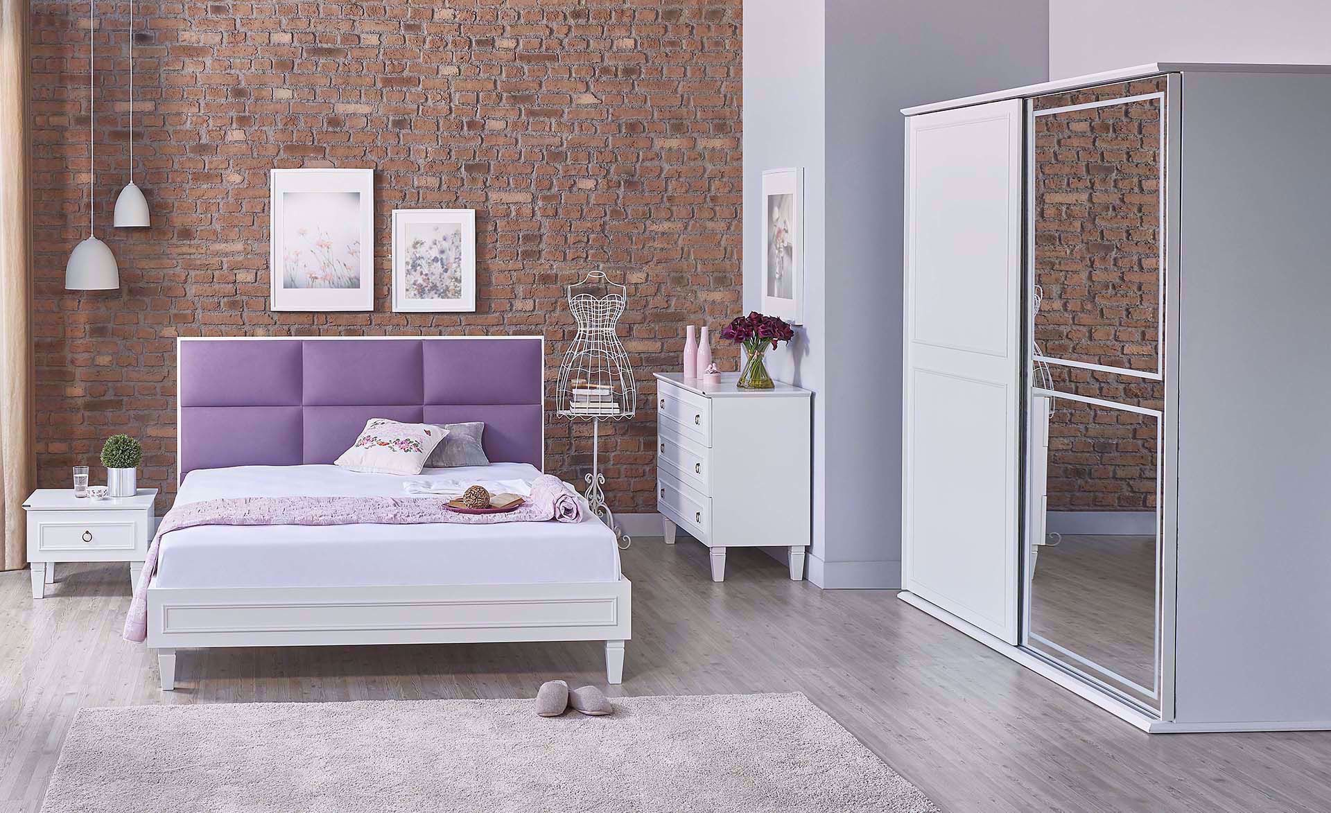 Cara Bedstead (with Base) 160*200cm (Incl. Headboard) (Purple)
